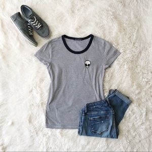 Brandy Melville navy and white striped alien tee